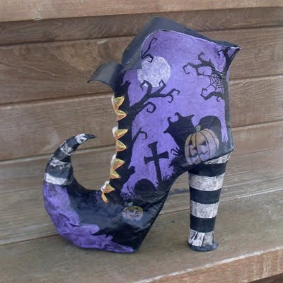 All things crafty tim burton inspired witch boot on ebay for Things made out of paper mache