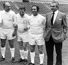 Alfredo Di Stéfano, Pancho Puskas, Paco Gento y Miguel Muñóz de veteranos