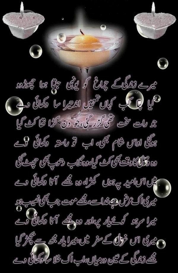 Mare Zindgi Ka Charagh Ko - Urdu Poetry