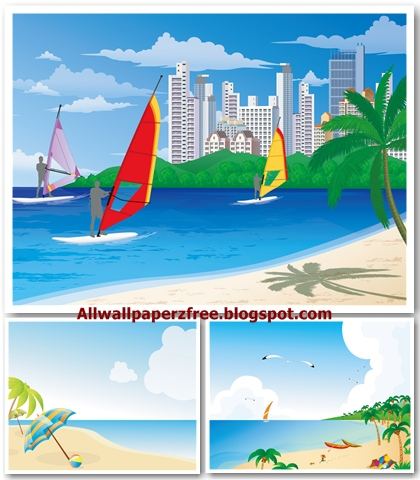 Summer Beach Vector Illustrations Wallpapers