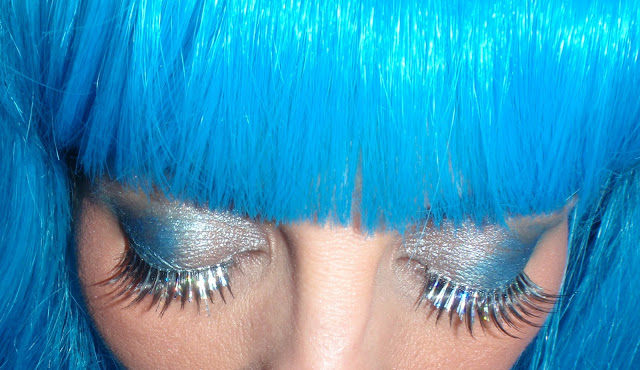 Blue hair and silver eye lashes