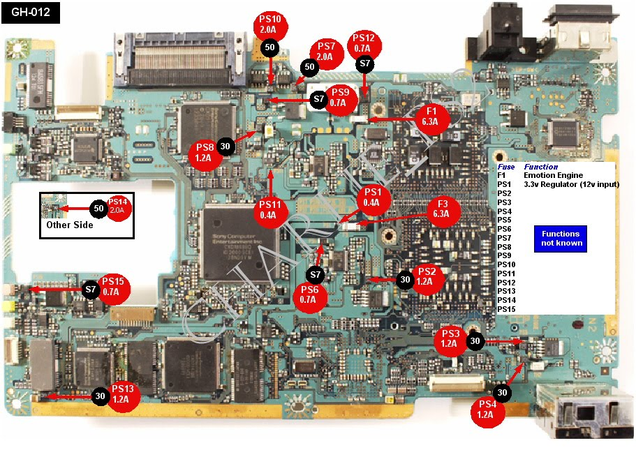 V4 Xbox Motherboard Fuse Location on