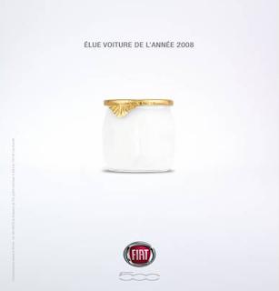 fiat 500 pub pot de yaourt