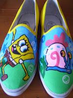 cara membuat sepatu lukis spongebob