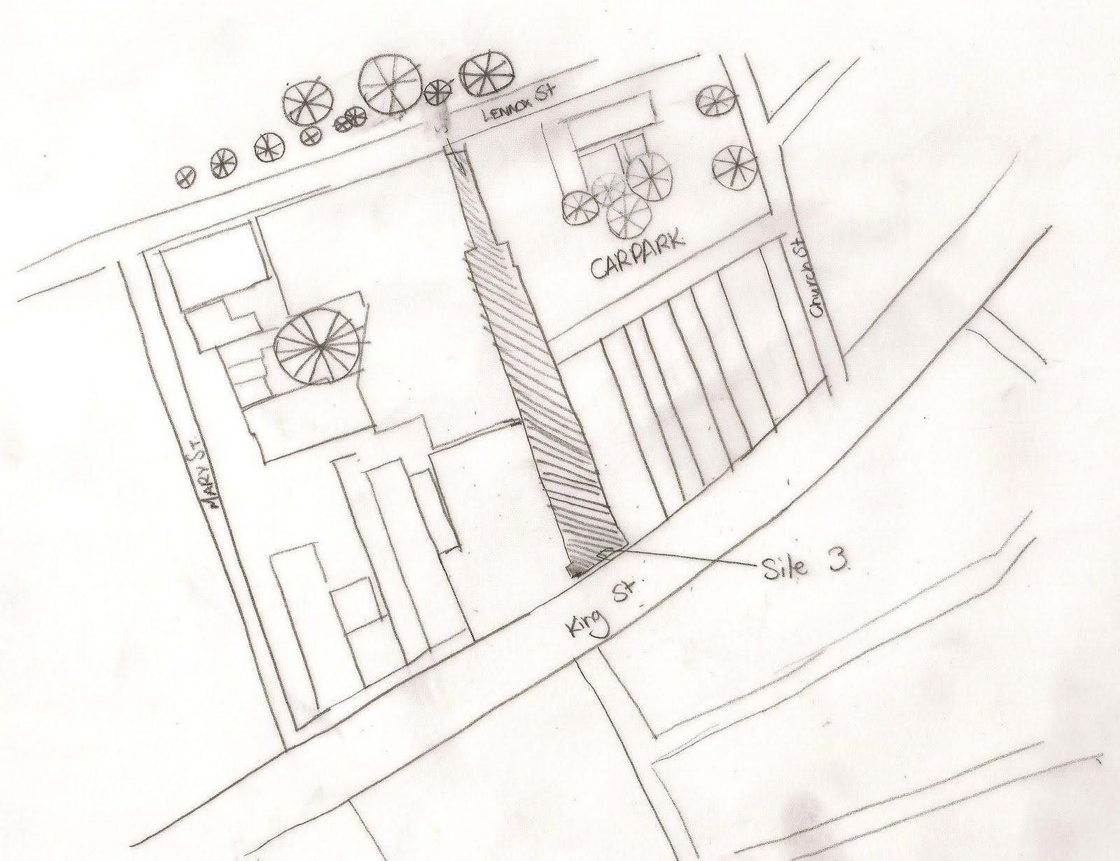 Architectural Studio 3 2010 rough sketches of site 3