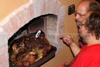 Cottura maialino al forno a legna
