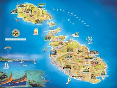 Mapa turístico del archipiélago maltés