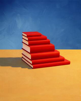 Red books stacked Tuxedo