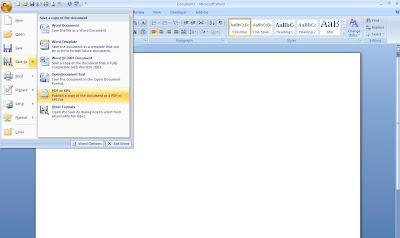 Ecran de Word com o caminho para gravar em PDF