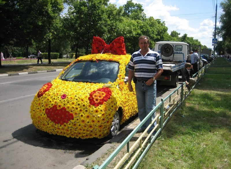 Funny Car Picture Covered In Flowers1