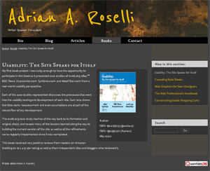 Screen shot of my (development) site with font styles.