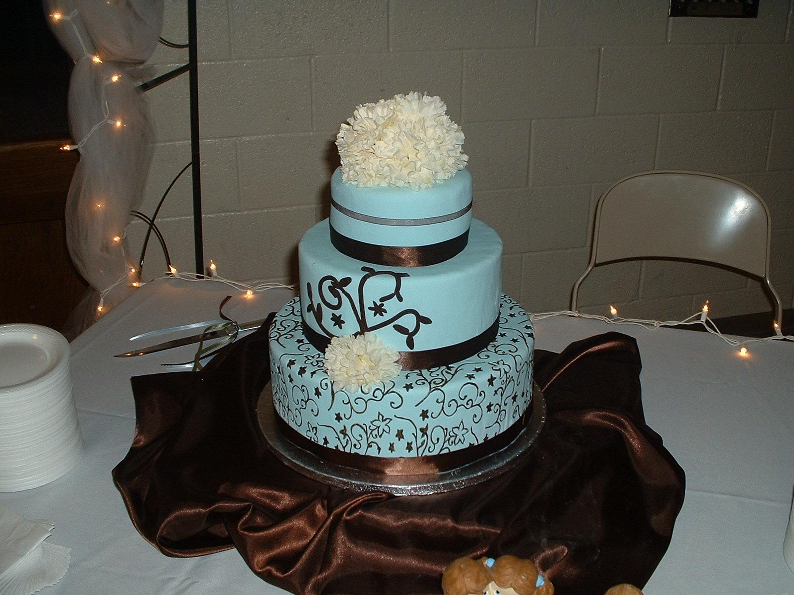 Cherry Girl Cakes Blue Brown Wedding Cake