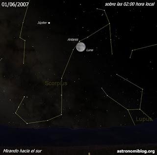 La Luna, Antares y Júpiter el 01/06/2007