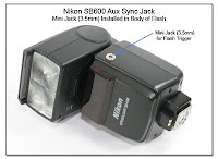 AS1035: Nikon SB600 Aux Sync Jack Mod - Mini Jack Installed in Body of Flash