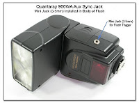 AS1036: Quantaray 900WA Aux Sync Jack - Mini Jack (3.5mm) Installed in Body of Flash