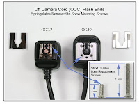 OC1014A: Off Camera Cord (OCC) Flash Ends - Springplates Removed to Show Mounting Screws