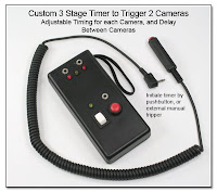 Custom 3 Stage Timer to Trigger 2 Cameras with Adjustable Timing for each Camera, and Delay Between Cameras