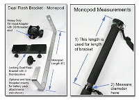 DF1005: Dual Flash Bracket (Under Camera Monopod Mount) Parts and Monopod Measuring