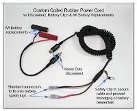 PJ1020: Custom Coiled Rubber Power Cord with Disconnect, Battery Clips, & AA Battery Replacements