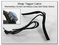 LT1004A: Strap Trigger Cable - Tactile 'Raised' Momentary Switch on Heavy Duty Self Stick Velcro