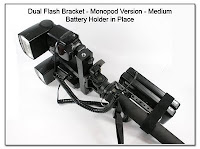 DF1028: Dual Flash Bracket - Monopod Version with Battery Holder in place