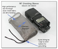 RF Shielding Sleeve - Shown with Canon 580EX Flash Unit