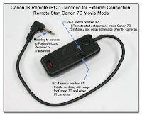 CP1006: Canon IR Remote (RC-1) Mod for External Pocket Wizard Connection - Remote Start Canon 7D Movie Mode or Still Image