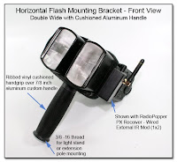 CP1104C: Horizontal Flash Mounting Bracket (Front View) Double Wide with Cushioned Aluminum Handle