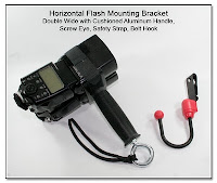 CP1104D: Horizontal Flash Mounting Bracket Double Wide with Cushioned Aluminum Handle, Screw Eye, Safety Strap, and Belt Hook
