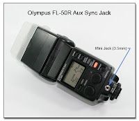 AS1030A: Olympus FL-50R Aux Sync Jack: Showing the Mini Jack (3.5mm) Centered in the Back Face of the Foot Assembly
