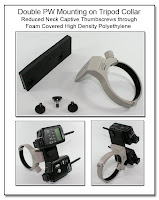 PJ1092: Double PW Mounting Bracket on Tripod Collar - Reduced Neck Captive Thumbscrews through Foam Covered High Density Polyethylene