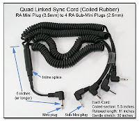 Quad Linked Sync Cord (Coiled Rubber) RA Mini Plug to 4 RA Sub-Mini Plugs