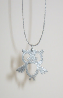 Owl pendant - surf jewels handmade jewellery -  pendant, jewellery, aluminium, saw pierced, silver, necklace, charm, pretty, shiny, animal, owl, handmade, ethical, eco, green, UK, local, free p&p, environmental