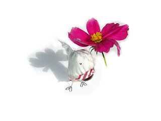 handmade bird - handmade, bird, cute, flower, stripy, recycled, eco, ethical, pink