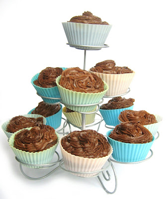 homemade cup cakes - cup cakes, made, cakes, chocolate, cup cake stand, wire stand, homemade