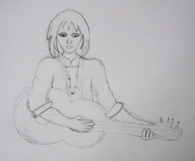 surf jewels, drawing, art, artist, sketch, woman, guitar, jeans