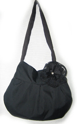 bag, handmade,sewn,sewing machine, flower,lace,pearl, vintage, black, handbag,