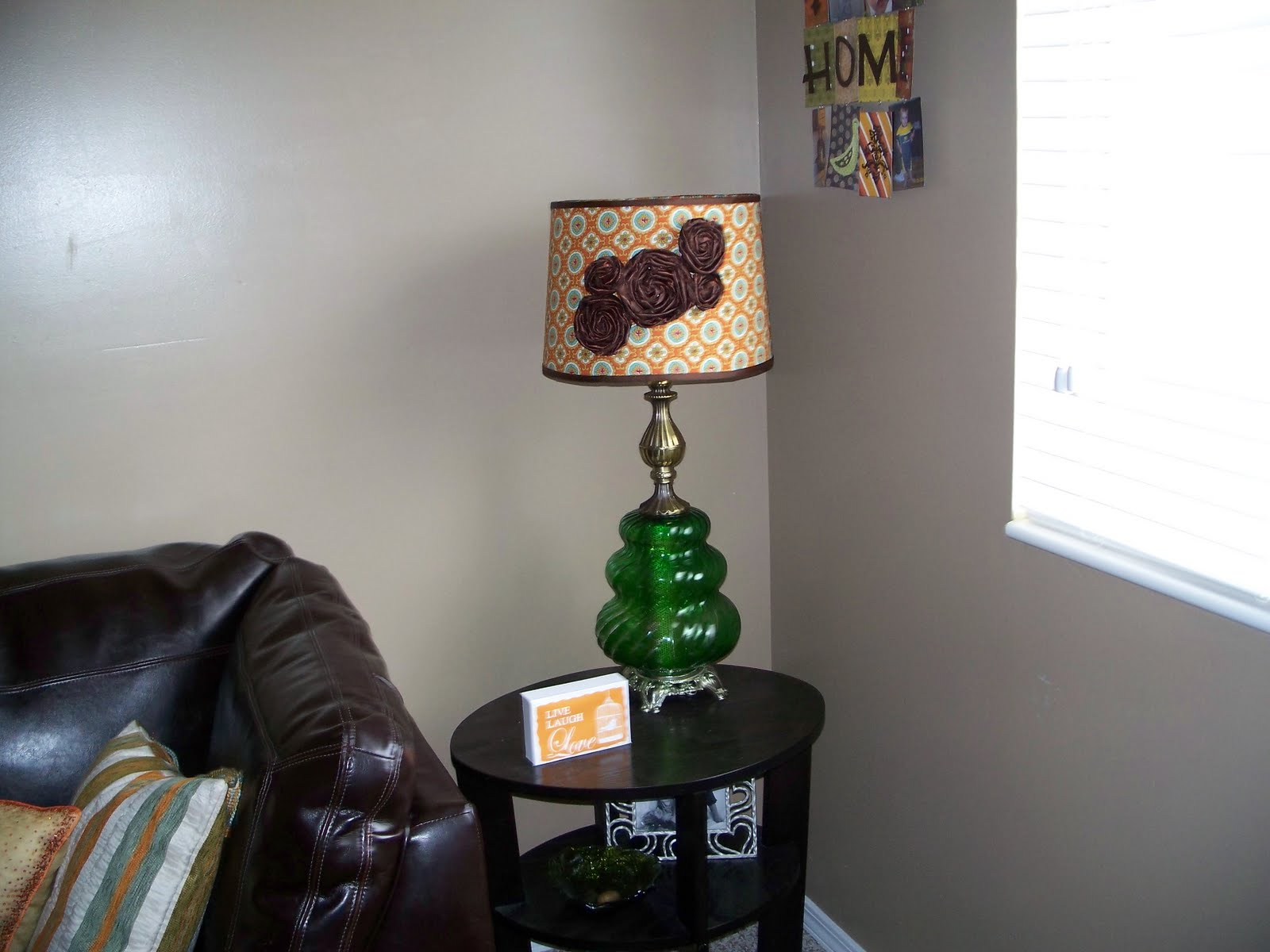 Funky craft mama lamp shade redo lamp shade redo i found this great 70s lamp at the di i goes perfect with my 70s lounge family room it need a little updating isnt she beautiful now aloadofball Images
