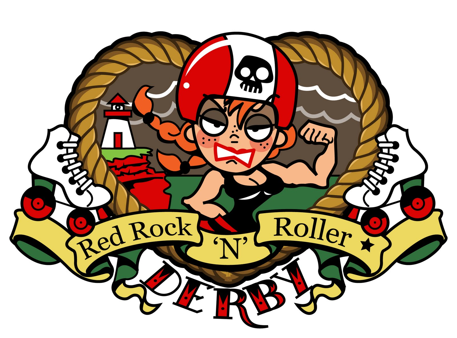 Logo With Red n Red Rock 39 n 39 Roller Derby is
