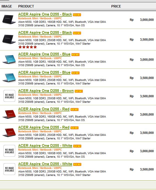 Daftar Harga Netbook ACER Aspire One D255