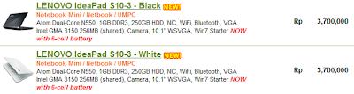 Daftar Harga LENOVO IdeaPad S10-3 (Processor Intel Atom Dual Core)