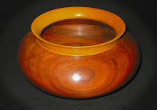 Walnut Bowl with Yellow Heart Rim