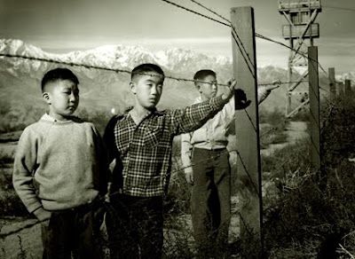 Boys at Manzanar during WWII (Photo by Toyo Miyakae