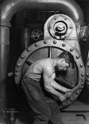 'Powerhouse Mechanic Working on a Steam Pump', Lewis Hine, 1920.