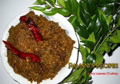 Say It Hot n Spicy With Green Leaf Chutneys - Curry Leaves Chutney - Ramani's Recipes