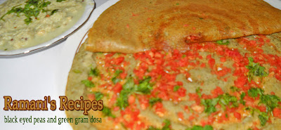 Black Eyed Peas and Green Gram Dosa with Coconut Chutney