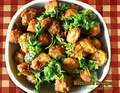 Dry Colocasia Curry - Ramani's Recipes