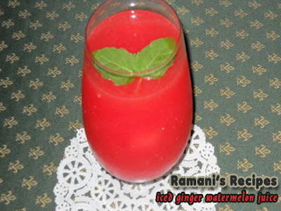 Iced Ginger Watermelon Juice - Ramani's Recipes