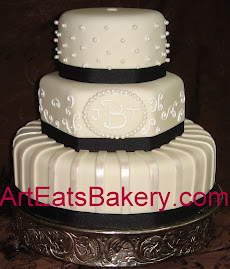 Round and hexagon fondant wedding cake