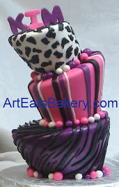 Animal print fondant mad hatter birthday cake